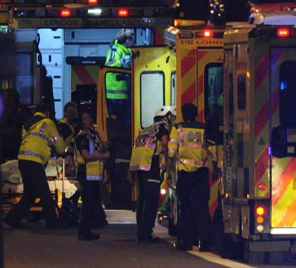 Police and Ambulance workers at London Bridge