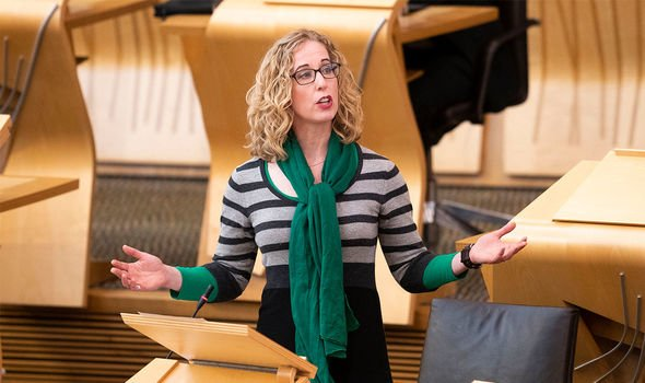 Scottish Greens: The party's co-leader, Lorna Slater, pictured speaking at Holyrood,