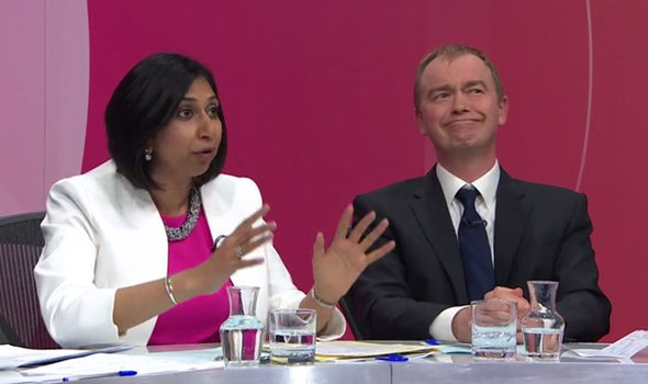 Suella Fernandes' claims left Tim Farron looking bemused