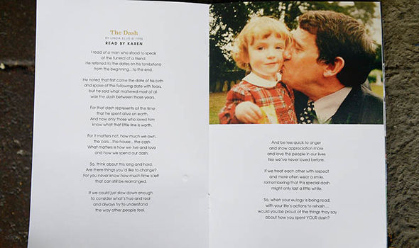Taylor's daughter Karen gave an emotional reading