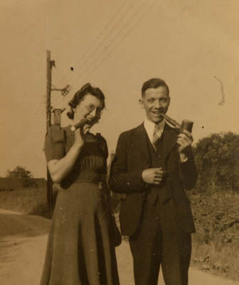 The couple in an old sepia photo