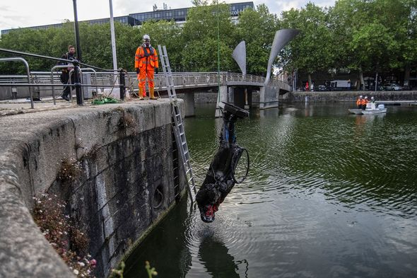 The statue was thrown into Bristol harbour
