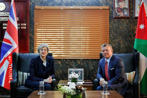 Theresa May meets Jordan's King Abdullah II