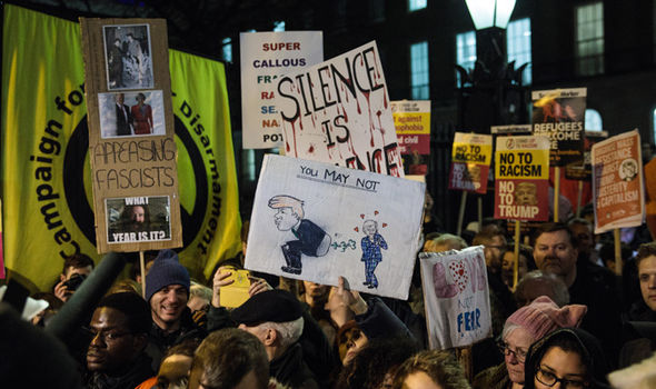 Thousands of people across the UK have protested against Trump's controversial ban