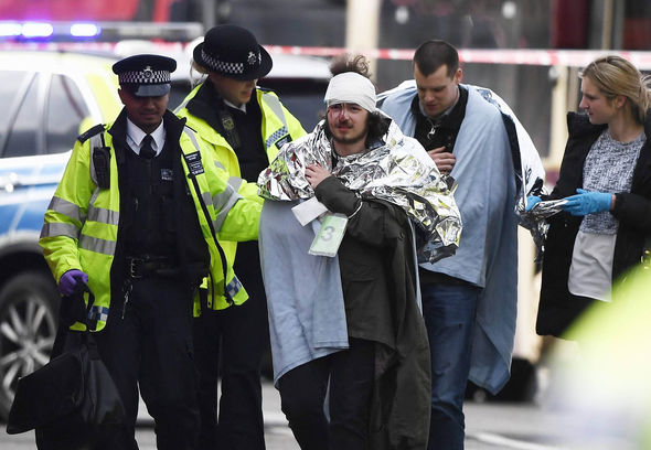 Victims of the attack were helped form the scene by police officers