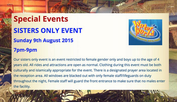 An advert for the Sisters Only Funday at WaterWorld in Stoke on Trent