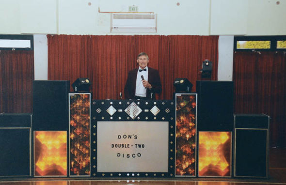 Mr Barker with his DJ set at the social club