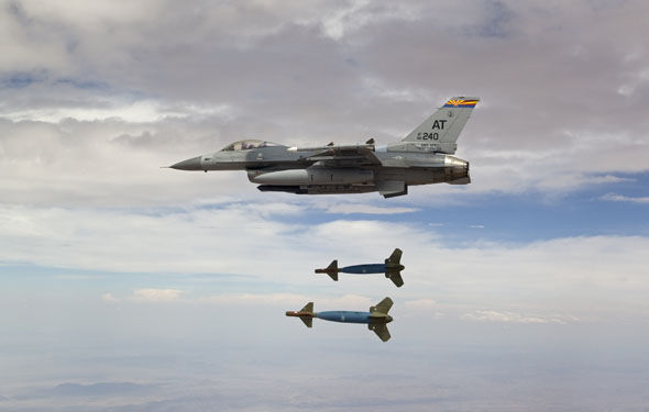 Jet firing Paveway bombs