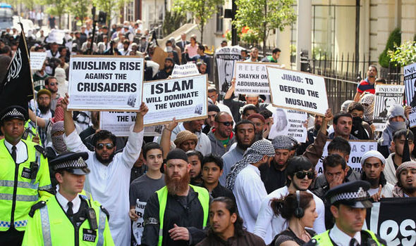 Muslim protestors in London