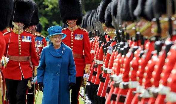 The Queen with British troops