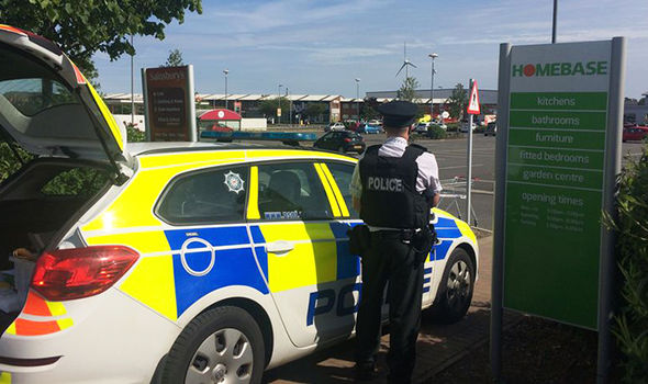 Police outside Bangor Sainsbury's