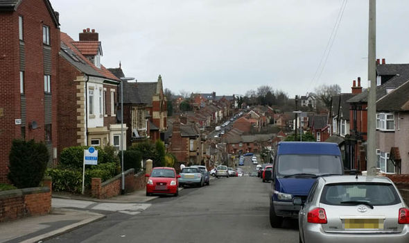 A terraced street in Rotherham