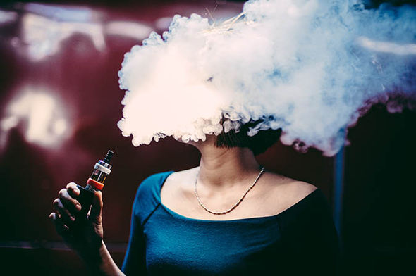 A woman vaping
