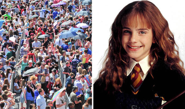 split image of Emma Watson and the crowds