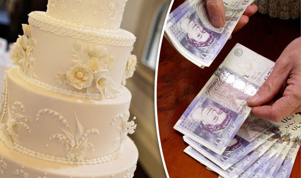Wedding cake and person counting money