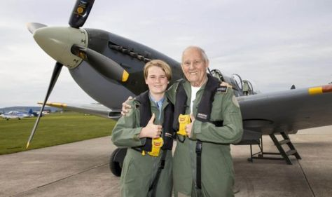 Boy's touching plea leads to magical Spitfire flight 'I want to see my grandad smile'