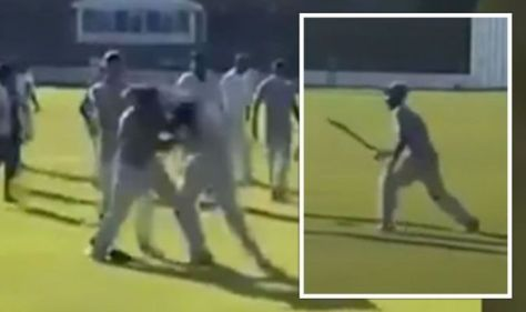 Terrifying moment bat-wielding thugs attack players at charity cricket match - VIDEO