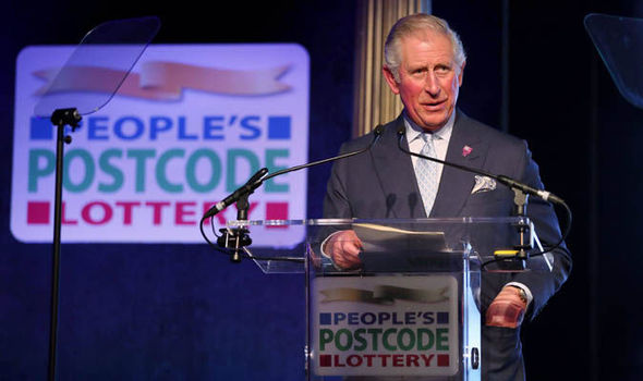 Prince Charles speaking at the lottery event