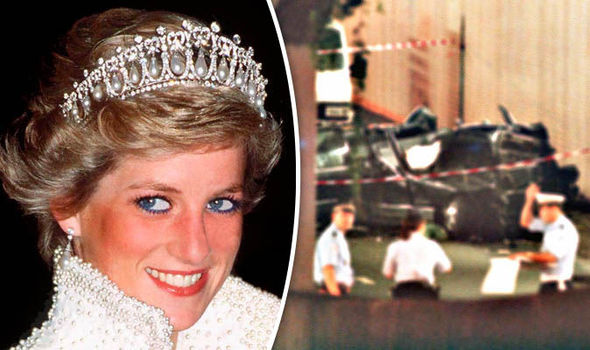 Princess Diana and scene of car crash in Paris