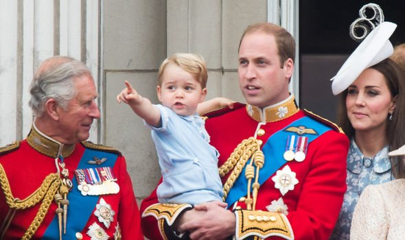 Charles with George, William and Kate at Trooping the Colour