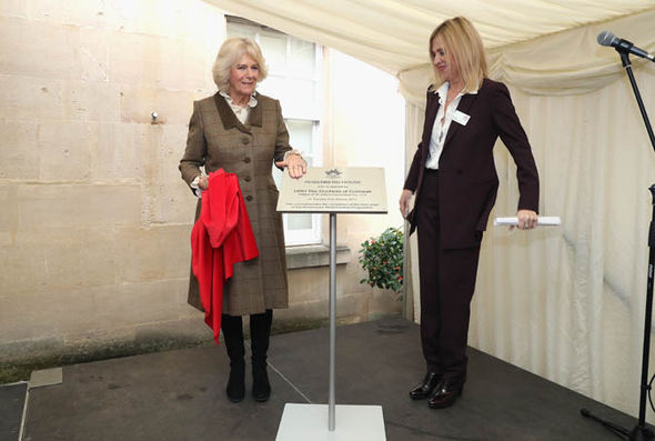 Duchess of Cornwall with Rosenberg House sign