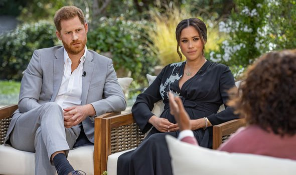 Prince Harry and Meghan Markle with Oprah Winfrey