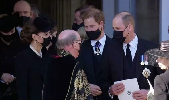 Prince William and Prince Harry chat at Philip's funeral