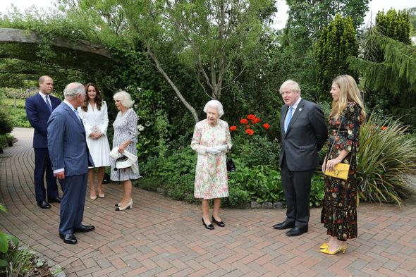 The Queen greeted Boris and Carrie Johnson as she arrived