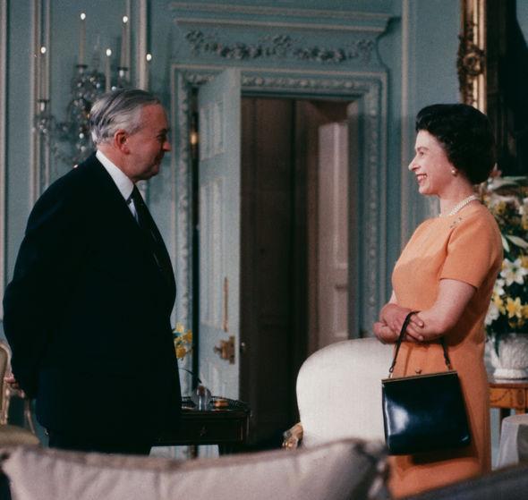 Queen speaks with Harold Wilson
