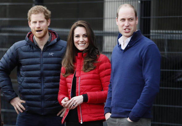 Prince William with his wife and brother