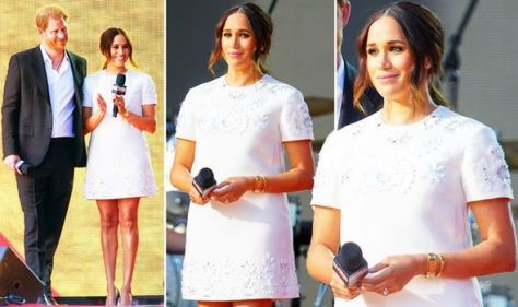 'Look at them!' Meghan Markle wears white Valentino dress and £100k jewellery with Harry