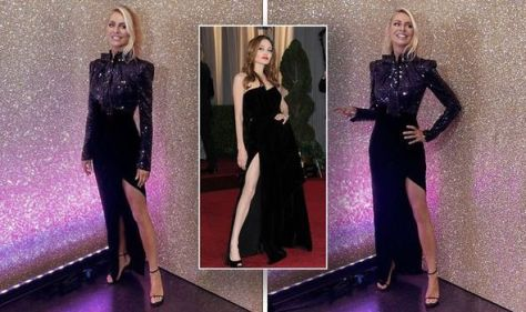 Tess Daly shows off one leg as she wears Angelina Jolie inspired dress on Strictly tonight