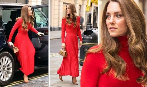 'Sheer elegance': Kate Middleton dons all red outfit with £300 handbag for event in London