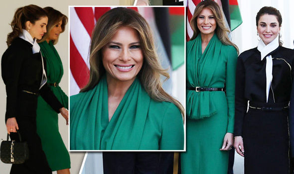 Melania Trump wore green to meet King Abdullah