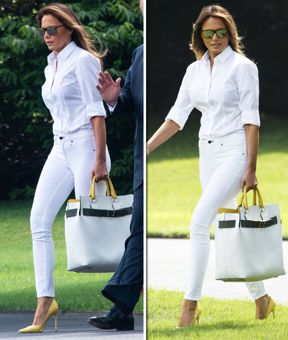 Melania Trump in white jeans
