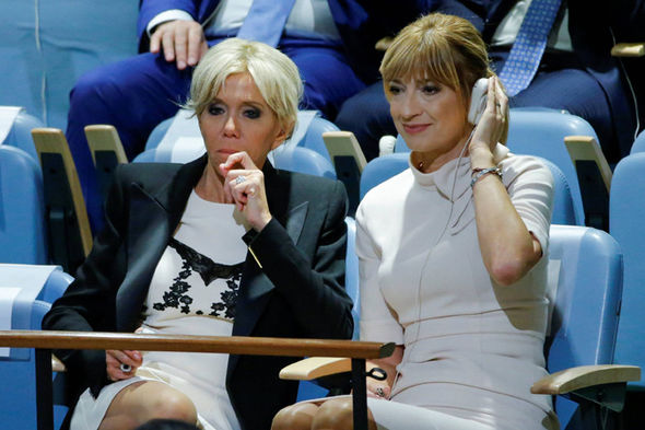 Brigitte Macron News French First Lady Gives Cheeky Flash