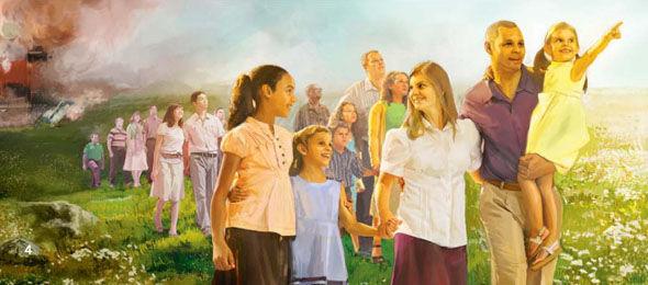 Los pocos ser elegido llevado al nuevo paraíso tierra con la destrucción del mundo detrás de ellos