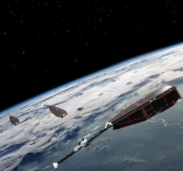 Os três satélites Swarm no trabalho