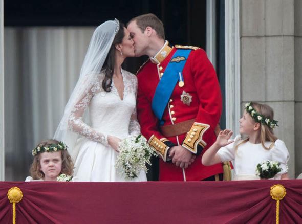 Prince William and Kate Middleton's wedding kiss