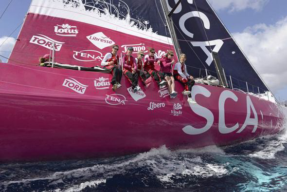 Team SCA on board the yacht before Volvo Ocean Race 2014