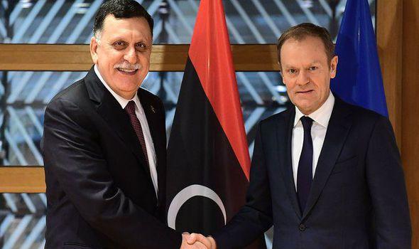 Libyan PM Fayez al-Sarraj and EU Council president Donald Tusk