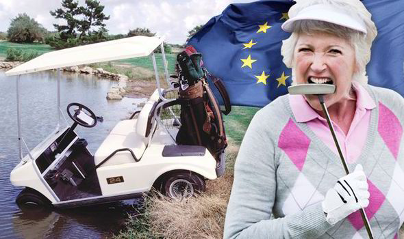 Golf buggy, golfer and EU flag