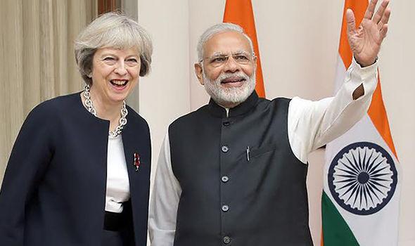 Theresa May and the Indian PM Narendra Modi