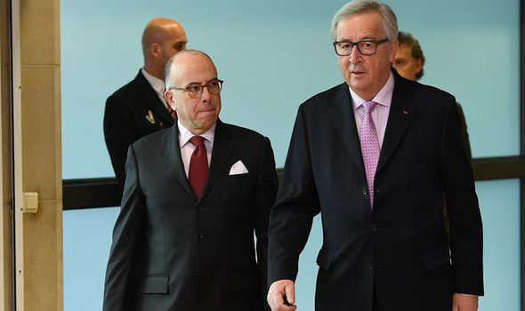French PM Bernard Cazeneuve and Jean-Claude Juncker