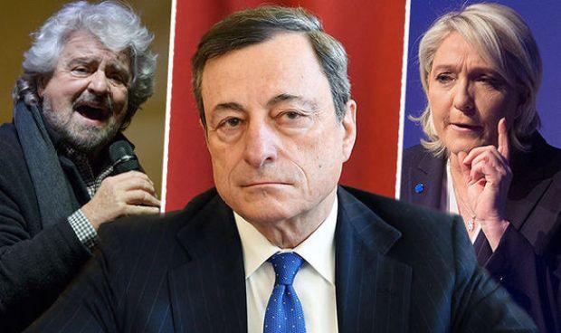 Mario Draghi, Marine Le Pen and Beppe Grillo