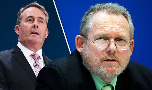 South African trade minister Rob Davies and Liam Fox
