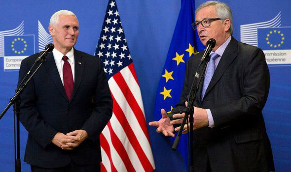Mike Pence and Jean-Claude Juncker