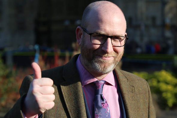 Paul Nuttall with his thumbs up