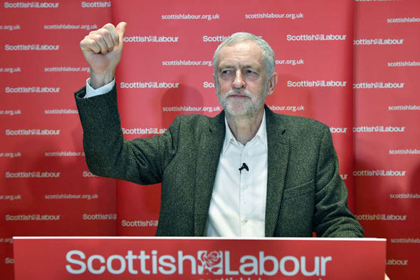 Jeremy Corbyn with his thumbs up