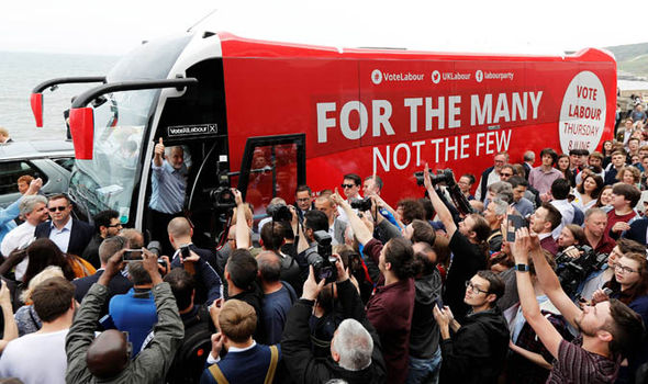 Jeremy Corbyn on the Labour battle bus